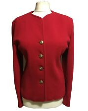 VINTAGE Red Wool Cashmere Women's UK 14 Tailored Blazer Statement Jacket Hunting