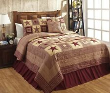 Colonial Star 3 Pc King Quilt Set Star Patchwork Country Primitive Cabin