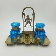 Antique Figural Inkstand Boy on Swing 2 Blue Glass Inkwells Pen & Nib Holders