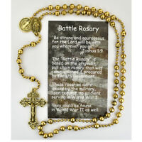Battle Rosary, Gold Toned, plus Three Prayer Cards, Magnet