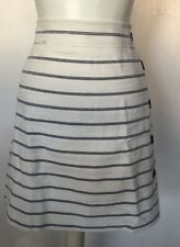 Ann Taylor White Stripes Side Zip Up Botton Down Design Women Mni Skirt Size 12