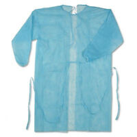 CASE OF 50! Blue Isolation Gown Disposable One Size Medical Surgical Protection