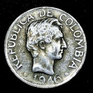 COLOMBIA REPUBLIC 1946 B - VEINTE (20) CENTAVOS - SILVER COIN KM# 208.1