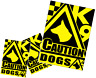 3 x CAUTION DOGS SIGNS, MULTI OPTIONS, STICKER / MAGNET / BOARD  (t26)