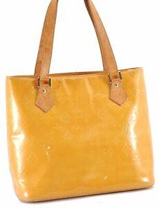 Authentic Louis Vuitton Vernis Houston Shoulder Hand Bag Yellow LV D3133