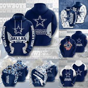 Dallas Cowboys Casual Hooded Jacket Pullover Hoddies Sports Sweatshirt Coat Gift