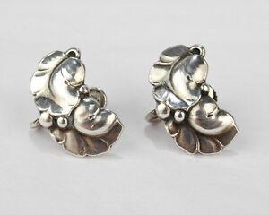 Pair of Vintage Georg Jensen 50A Leaf & Berry Screw Back Earrings - SL