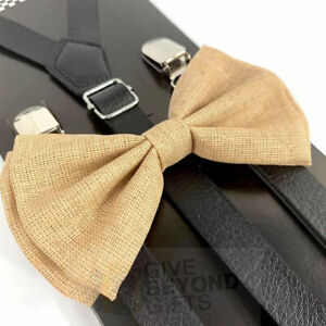 Suspender and Bow Tie Adult Skinny Leather Beige Canvas Formal Wear Accessory