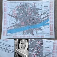 WWII Rare 4th Infantry Division Map Orleans France WW2 Relic