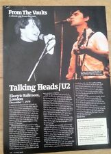 U2 /Talking Heads Lyceum 1979 concert review Uk Article / clipping