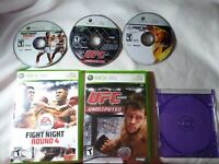 Lot 3 Xbox 360  FIGHT NIGHT ROUND 4 3 UFC Undisputed 2009 Boxing MMA Video Game