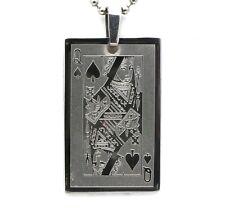 Queen of Spades Card Design Metal Beaded Necklace - 4 x 2.5 cm Pendant