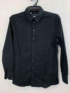 DOLCE & GABBANA 100% Cotton Black Shirt with White Spot sz 16.5 or 42 [mi