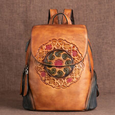 New Real leather vintage large capacity handpainted color women backpack
