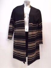 Tahari Sweater 1X Open Front Cardigan Black and Tan Stripes Merino Wool Knit