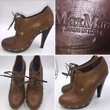 Max Mara Size 39 6 Tan Brown Leather Studded Ankle Boots Booties Womens Italian