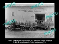 OLD 8x6 HISTORIC PHOTO OF TEXACO OIL Co SERVICE STATION CHILDRESS COUNTY c1910