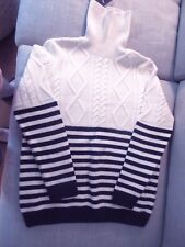Saint James for J Crew Wool Cable Turneck Navy Striped Sweater Unisex Med/Large