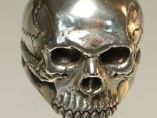 Skull Ring Mid-size half jaw silver mens ring skull biker masonic jewelry 925