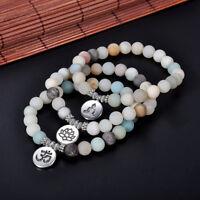 Matte Amazonite Stone OM Lotus Buddha Yoga Bracelets Women Men Chakra Mala Beads