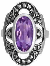 MARCASITE AND AMETHYST RING 925 STERLING SILVER HALLMARKED FROM ARI D NORMAN