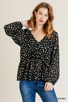 Umgee Black Spotted Dalmatian Animal Print Long Sleeve V-Neck Top