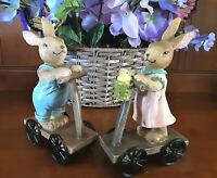 Ceramic Easter Bunny Figurines Vintage Scooter Boy Girl Bunnies Set of 2