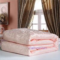 100% Silk Filled Quilt Doona Coverlet Duvet Comforter Blanket Bedspread Pink New