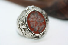 Very Old Antique 12.98 ctw Carnelian Agate Roman Engraved Soldier Ring Band Sz 9