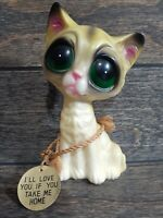 Enesco Big Green Eyes Cat Kitty Beramic Figurine 70's MCM Hong Kong w/ Tag Retro