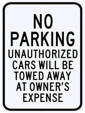 3M Reflective No Parking Unauthorized Cars Municipal Grade Large Size 18 x 24