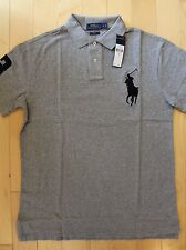 NWT Men's RALPH LAUREN Slim Fit Pique Cotton Big Polo Pony Gray/Black Size XXL