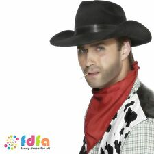 BLACK INDESTRUCTIBLE COWBOY HAT WITH BAND mens wild west fancy dress costume