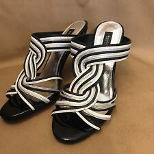 White House and Black Market Sandals Shoes Stripe High Heel Size 8M