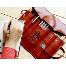 Retro Roll Leather Makeup Cosmetic Brush Pen Pencil Case Organizer Pouch Bag vec