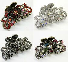 Hot Wholesale 4 pieces elegant rhinestone flower hair accessory claw clip pins