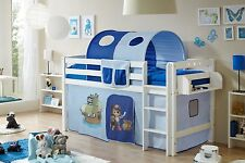 Lit mezzanine TIMMY R Hêtre massif teinté blanc tissus Pirate Bleu clair-Bleu fo
