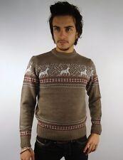 Da Uomo Renna Fiocco Di Neve Maglione Norvegese Knitwear Sweater VINTAGE XL