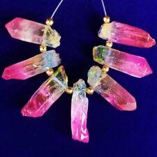 7Pcs/Set Rainbow Titanium Crystal Agate Druzy Quartz Geode Pendant Bead S78120