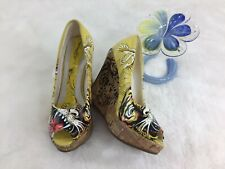 Ed Hardy Casablanca Tiger Peep Toe Yellow Wedge Heels Pumps Womens Shoes Size 5