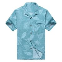 NWT Men Aloha Shirt Cruise Luau Hawaiian Party Aqua Floral Leaf