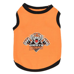 WESTS TIGERS NRL TEAM LOGO PET TANK T-SHIRT CAT OR DOG - SIZES XS-6XL