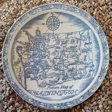 "Vernon Kilns Picture 10¼"" Map of Washington State Plate"