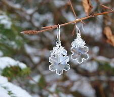 Boucles d'oreilles flocon du neige cristal Swarovski fée blanc hiver elfique