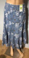 Marks & Spencer Womens Floral Denim Look Skirt Blue Mix Flared Uk Size 12  BNWT