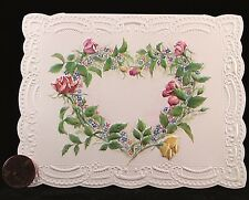 CAROL'S ROSE GARDEN  Roses Heart Pink Flowers - Blank Greeting Note Card - NEW