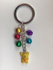 Teddy keyring with bells - yellow