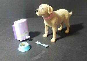 Barbie Doll Pet Shop Dog Tanner Lab Retriever Poop Food Pellets Dish Trash Can
