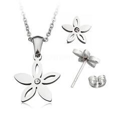 Fashion Women Flower Stainless Steel Jewelry Rhinestone Sets Earring & Necklace