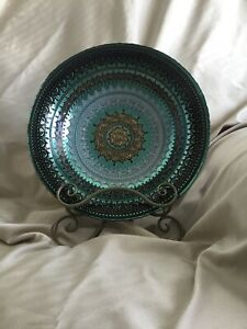 """16"""" Diameter Green, Brown, Light Gray, and Beige Plate/Bowl made in Turkey."""